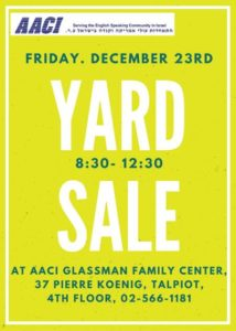 Sign for the AACI December Yard Sale