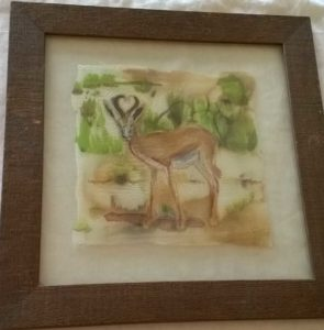 deer painting on silk