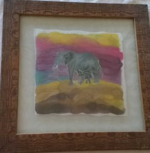 mother and baby elephants painted on silk