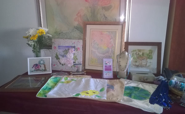 Table display of Shoshanah's Art